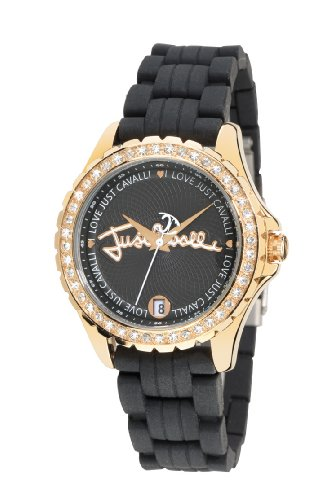 Just Cavalli Ladies Watch R7251167825 In Collection Easy with 3 H and S, Date, Black Dial and Black Strap