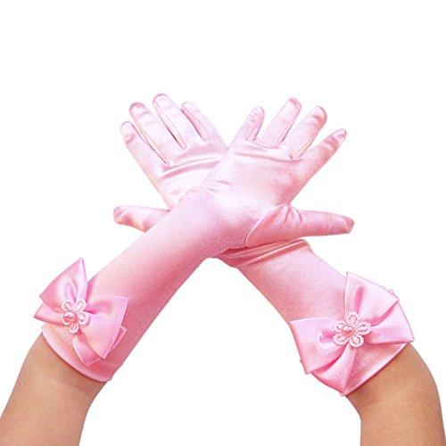 Blumenmädchen Kinder Satin Lange Handgelenk Handschuhe Brautjungfer Festzug Abschlussball (6-9 Jahre, rosa)