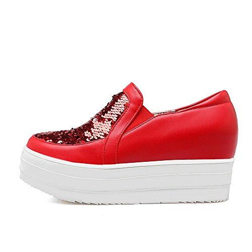 VogueZone009 Damen Ziehen Auf Rund Zehe Mittler Absatz Pu Leder Eingelegt Pumps Schuhe Rot