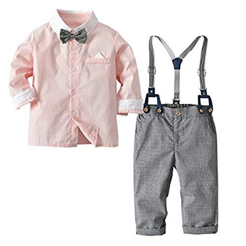 2-Teiliges Kleinkind Jungen Babyanzug Gentleman Kinder Langarm Hemd mit Fliege + Hose mit Träger Baumwolle Anzug Kleidung Set 90CM (Kleidung Kleinkind Jungen)