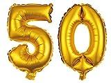Alsino XXL Folienballons Luftballon Heliumballon Zahlenballon Ziffern 18-90 Verschiedene Farben 80 cm Party Geburtstag Hochzeit, Variante wählen:50, Variante wählen:Gold