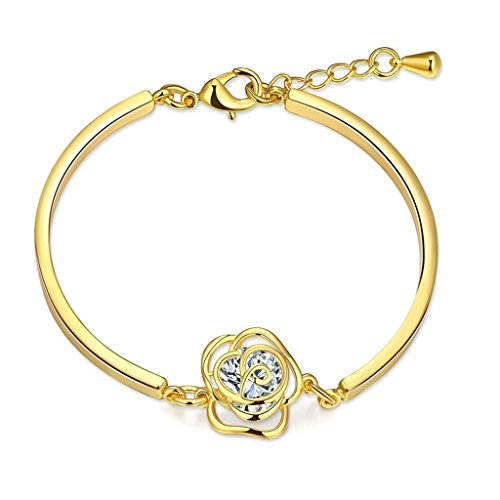 Aeici Armband Damen Charm Goldene Rose Form Link Abschluss Armband Frauen 925 Armband Gold - Canyon Keramik