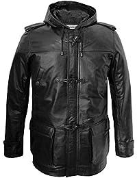 Leatherbox pour Homme en Cuir véritable Longueur 3 4 Noir à Capuche Duffle  Coat 9f36a71bcfdc