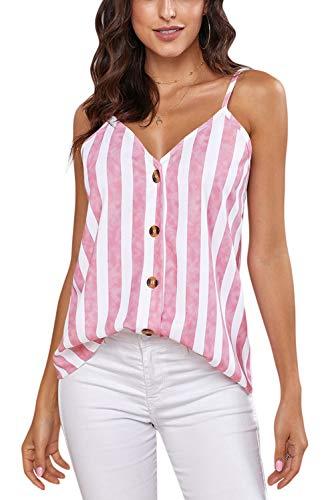 Ancapelion Damen Sommer Bluse Ärmellose Chiffon Tank Top V-Ausschnitt Shirt Elegant Weste Hemdbluse Loose fit T Shirt mit Trägern (Pink-Streifen, L(EU 42-44)) -