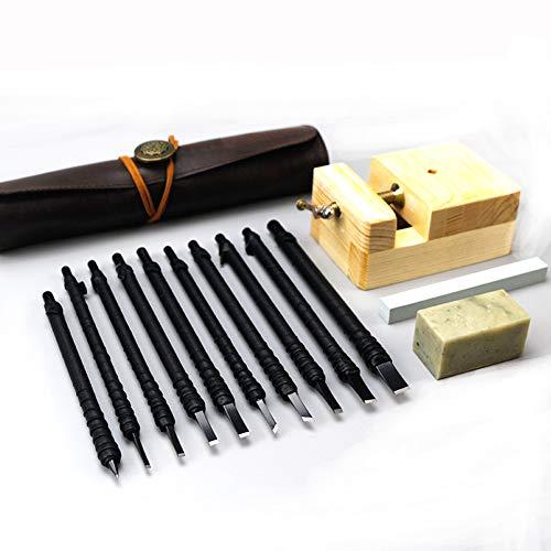 YXMxxm 10 Stück Wolfram Stahl Stein Schnitzwerkzeug w/Oxford Stoffbeutel, professionelles Schnitzwerkzeug für Holz oder Stein