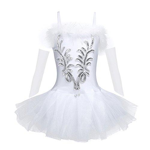 Tiaobug Mädchen Ballettkleidung 3tlg.Set Ballettkleid+Handschuhe+Haarband Kinder Ballettanzug Ballett Trikot Tanz Kostüm Tütü Kleid 104 110 116 122 128 140 152 Weiß 140-152 (Herstellergröße: 150)