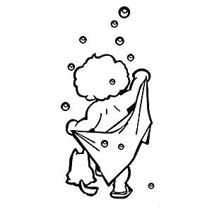 TTbaoz Nette Kinder Dusche Aufkleber Wasserdicht Und Abnehmbare Ich Liebe Dusche Wandaufkleber Bad Glastür Aufkleber 56X34 Cm