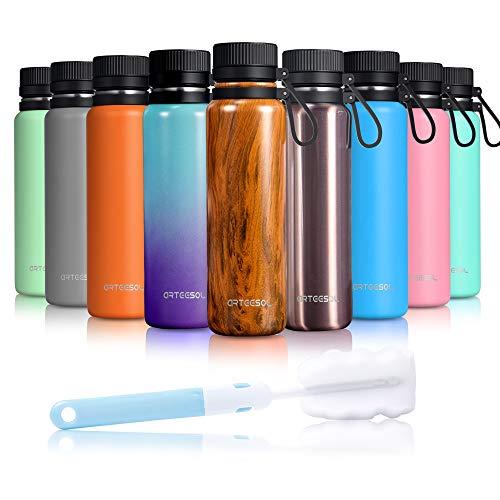 Arteesol Trinkflasche Edelstahl Wasserflasche 500/750/1000 ml Doppelwandige Vakuum BPA Frei Isolierte Flasche für Sport Fitness Fahrrad Laufen Camping usw 12 STD Kühlen & Warmhalten (Holz, 1000ml)