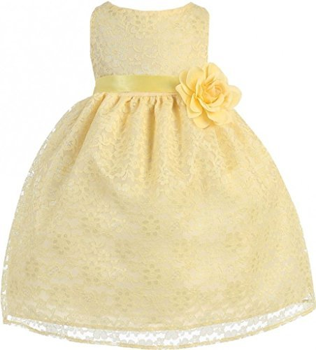 BNY Corner Baby Flower Girl Dress Yellow Floral Lace for Baby &Infant Yellow 18M CA749B