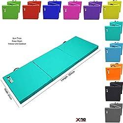 Plegable en 3, de Xn8 Sports. Espuma resistente con grosor de 6 cm, color turquesa
