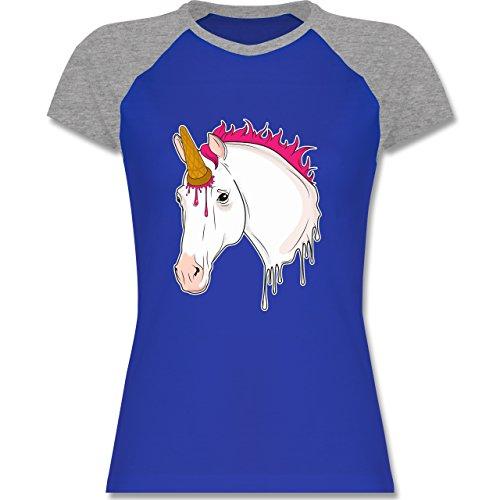 Statement Shirts - Einhorn mit Eis - zweifarbiges Baseballshirt / Raglan T-Shirt für Damen Royalblau/Grau meliert