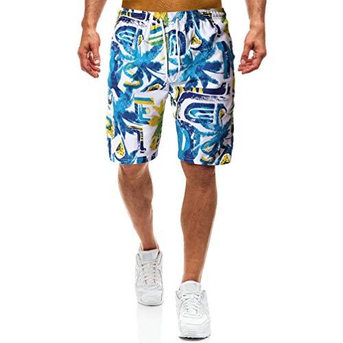 Herren Shorts Verstellbarer Kordelzug Stretch Taille Kokosnussbaum Druck Schnell trocknend, Schweißabsorbierend, Atmungsaktiv Lässige Five-Pants -