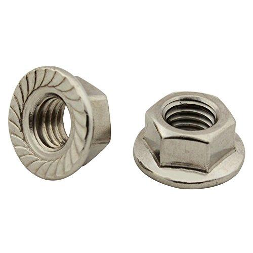 Sechskantmuttern mit Flansch und Sperrverzahnung - M5 - ( 25 Stück ) - Flanschmuttern - DIN 6923 - Edelstahl A2 (V2A) - SC6923 | SC-Normteile