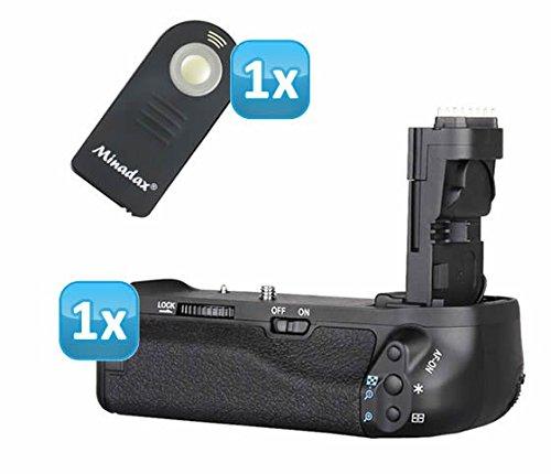 Profi Batteriegriff kompatibel mit Canon EOS 70D Ersatz für BG-E14 - für 2x LP-E6 und 6 AA Batterien + 1x Infrarot Fernbedienung (Canon Kamera-auslöser Fernbedienung)
