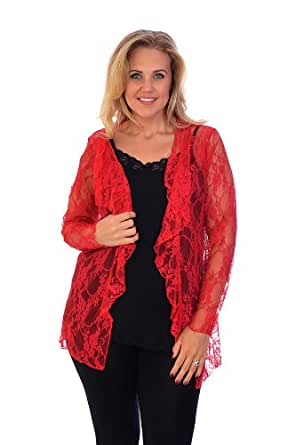 Floral Lace Waterfall Cardigan Red 12-14