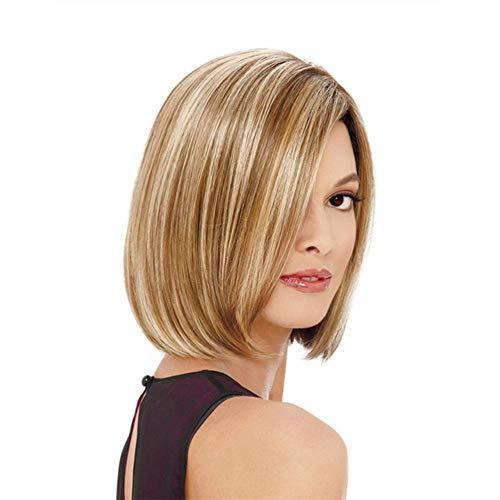 RATWIFE Ruili Blonde Haare Perücke Dame, glattes Haar Perücke Hochtemperatur Draht kurzen geraden Perücke -