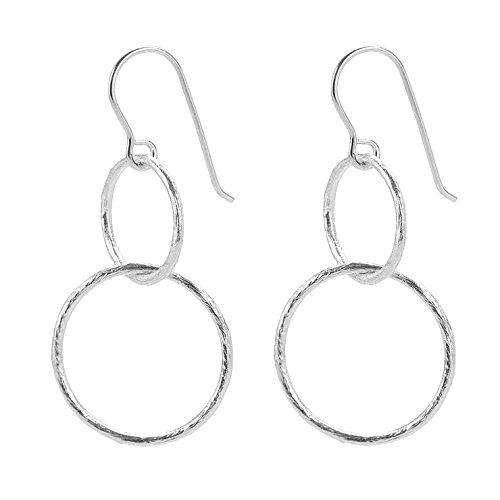 Ringe Damen Münze Silber Sterling (Pernille Corydon Damen Ohrringe Double Open Coin - Ohrhänger für Frauen mit 2 runden Ringen Kreisen - Echtschmuck 925er Silber vergoldet E223s)