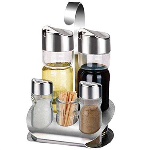 V.JUST 4 Stück Menage für Salz, Pfeffer, Öl und Essig Set mit passendem Ständer, 5 Stück, mit Zahnstocher, Edelstahl/Glas, Silber/Klar