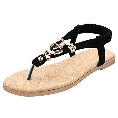 Caretoo sandali da donna da estate, modello con infradito pu cuoio bassi sandali elegante bohemia perline decorare a forma di fiore