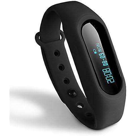 Activity Tracker Toprime braccialetto intelligente promemoria chiamata in arrivo passi/Distanza/Calorie per Android e iOS Telefono, Pdm 1106, Black