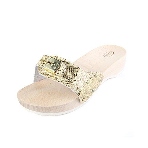 Scholl Pescura Heel Platinum Sparkling Glitter gold