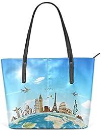 41218666cb12d COOSUN Travel Die Welt Wolken Flugzeug PU Leder Schultertasche Handtasche  und Handtaschen Tasche für Frauen