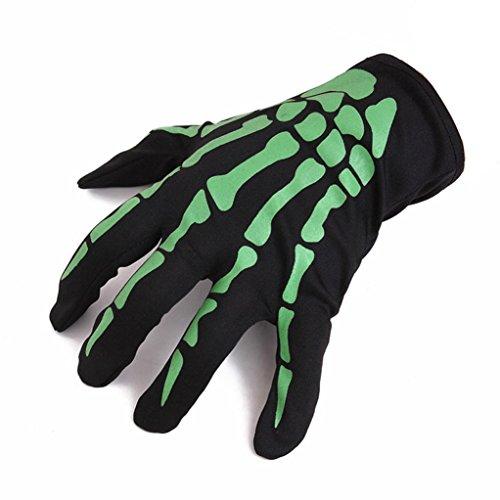 (Lenfesh Halloween Schädel Knochen Skelett Voll Finger Warmen Handschuhe (Grün))