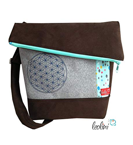Foldover Tasche Blume des Lebens dunkelbraun mint Stickerei handmade -