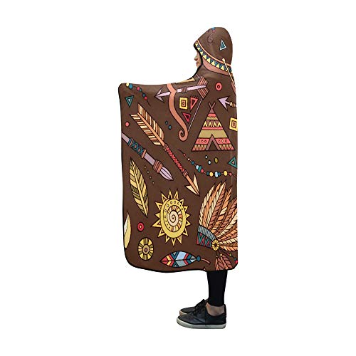 JIMO Mit Kapuze Decke Tribal Wild Fun Cartoons-Decke 60 x 50 Zoll Comfotable Mit Kapuze Throw Wrap