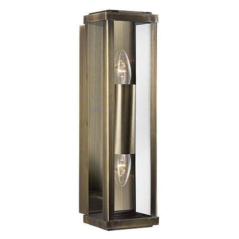 Karmen 2 Light Outdoor Wall Light Finish: Antique Brass