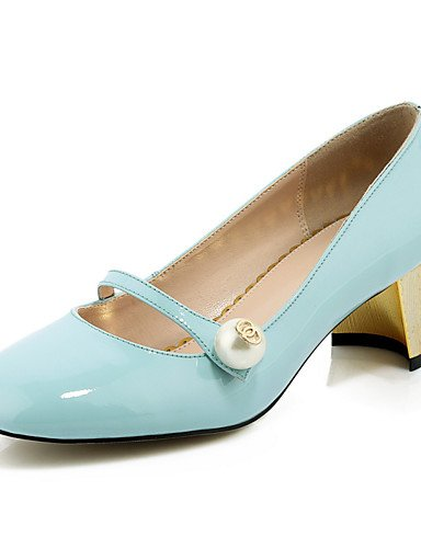 WSS 2016 Chaussures Femme-Bureau & Travail / Décontracté-Noir / Bleu / Rouge-Gros Talon-Talons / Bout Carré-Chaussures à Talons-Cuir black-us6 / eu36 / uk4 / cn36