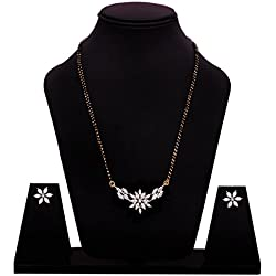 Sitashi Fashion Jewellery White Crystal Mangalsutra Set/ Tanmaniya Set For Women