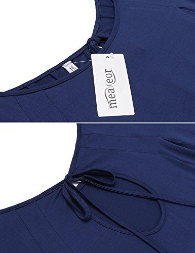 Meaneor Sommer Oberteile Kurzarm Batwing T-Shirt Tops Damen Schulterfreies Bluse Tunika Tanktop Dunkelblau
