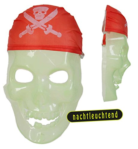 Piratenmaske nachtleuchtend für Erwachsene Universalgröße Unisex Halloween Leuchtmaske Kunststoffmaske Halloween Piratenschädel Schädelmaske Verkleidung (Halloween Einfache Jungs Und Günstige Kostüme Für)