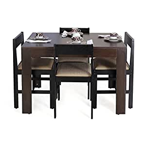 ForzzaPeterFour Seater Rectangular Dining Table Set (Wenge)