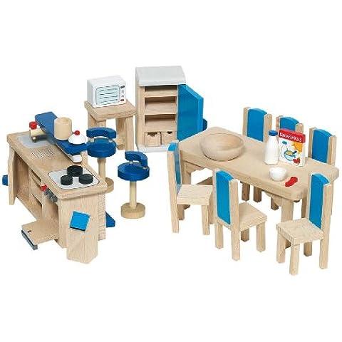 Goki 51907 - Cocina para casita de muñecas de 30 piezas