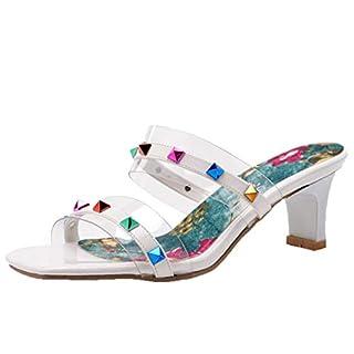 AIYOUMEI Damen Mules mit Blockabsatz High Heels Pantoletten Transparent Sandalen mit Nieten Slipper Sommer Pantoffeln Weiß 37 EU