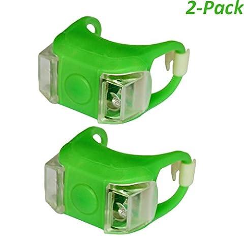Heemepink 2 Stück wasserdichte LED Fahrradlicht Bright Eyes Silikon-Fahrrad-LED-Licht Berg am Gabel Lenker Sattelstütze Frosch-Licht Grün