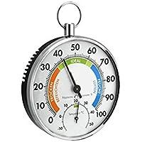 DeliaWinterfel Higrómetro termómetro analógico | Doble función | Instrumento de precisión | Interior de casa Exterior Humedad by