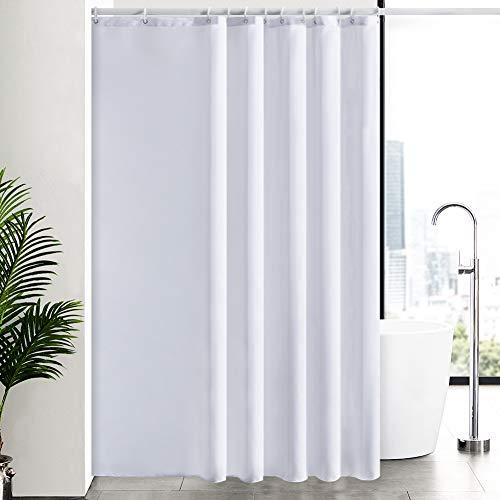Furlinic Überlänge Duschvorhang Weiß Anti-schimmel, Badvorhang für Badewanne und Dusche in Badezimmer, Textile Vorhänge aus Stoff Waschbar Wasserdicht mit 12 Haken 200x240.