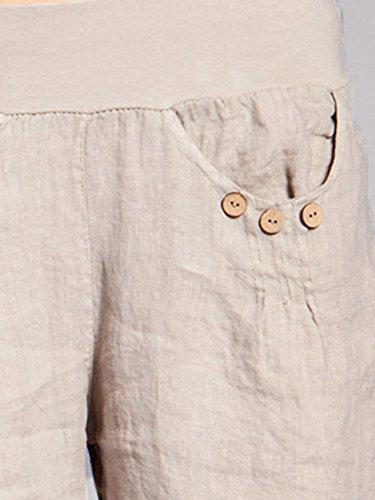 CASPAR BST002 Damen Leinen Shorts Beige