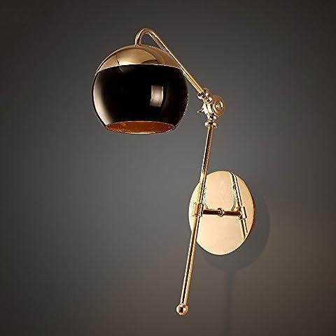 Modernes praktisches drehendes justierbares sub-schwarzes Glas-Eisen-Wand-Lampen-amerikanisches Wohnzimmer-Schlafzimmer-Leselampe Luxus Gold Lange Lampenarm Wandleuchte Max Höhe: 50CM