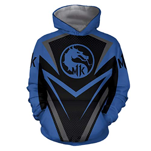 Kombat Kostüm Cosplay Mortal - Mortal Kombat Spiel Cosplay T-Shirt Hoodie Sweatshirt Kostüm Halloween Cosplay T-Shirt Reißverschluss/Pullover Jacke (S, Blau 2)