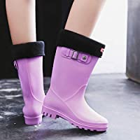 FDDSSYX Rainboots For Women,Womens Wellies Waterproof Ladies Purple Fashion Retro Short Tube Wellington Rain Shoes Warm Thicken Rain Boots Music Festivals Water Boots