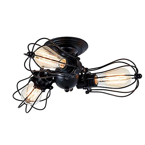 AALHM Vintage Deckenleuchten verstellbare Fassung Industrie Kronleuchter Metalldraht Käfig Lampe Semi-Flush Mount rustikale Decke Indoor Home Retro-Leuchte 3 Licht Wandleuchte (Color : Black) -