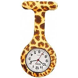 uWANTit Gel Silicone Leopard Funky Nurse Fob Watch Washable for Infection Control Paramedic Doctor Unisex