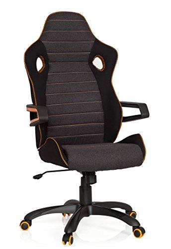 41wZuhYYEVL - hjh OFFICE 621850 RACER PRO IV - Silla gaming y oficina, tejido negro/gris/naranja