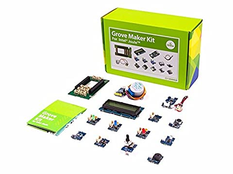 Grove Maker Kit For Intel Joule, Rich Grove modules, Button, sound sensor V1.2, Touch Sensor, Light Sensor V1.2, temperature sensor v1.1, Rotary Angle Sensor (P), Piezo vibration sensor, Electronic Components