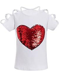 Algodón Camiseta para Bebé Niñas - Fashion Corazón Impreso Mangas Cortas T-Shirt con Decoración de Lentejuelas Moda Verano Casual Blusa Shirts Tops