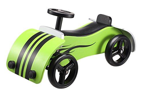 BIKESTAR Kids Wooden Ride On Car 4 Wheeler Vehicle Walker with Rubber Tires Wheely for Children Age 1 Years | Wood Racer Edition | Green (Ride Cars Jungen Für On)
